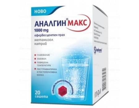Analgin Max 1000 mg. 20 sachets