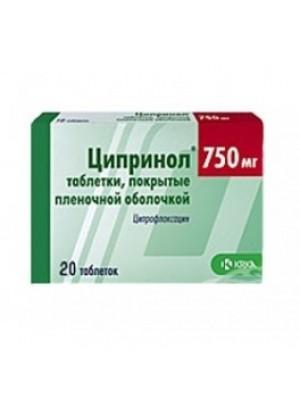 CIPRINOL 750 mg. 20 tablets